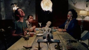 A cannibal family dinner in Texas Chainsaw Massacre
