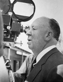 Director Alfred Hitchcock Looking Through Camara