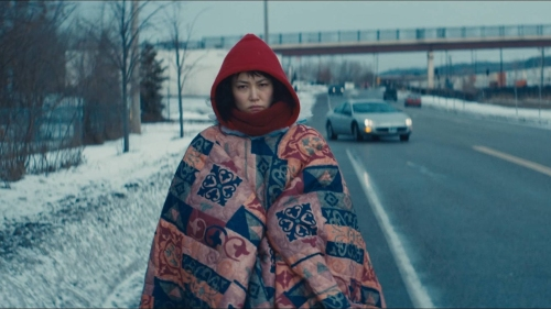 kumiko in her blanket shawl